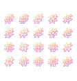 hashtag simple color line icons set vector image