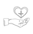 heart on arm and sprout vector image