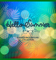 hello summer lettering text on blurred sunset view vector image vector image