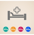 icons with bed and cross hospital sign vector image vector image