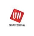 initial letter uw logo template design vector image vector image