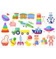 kids toys cartoon rocket ship train cute girl vector image