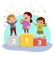 kids with medals standing on winners pedestal vector image vector image