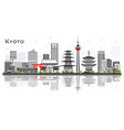 kyoto japan city skyline with gray buildings and vector image