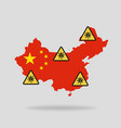 map with flag china and pandemic stop novel vector image