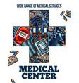 medicine cross symbol with medical sketch vector image vector image
