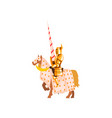 medieval knight riding horse holding lance brave vector image vector image