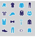 mens clothing stickers eps10 vector image vector image