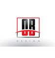ob o b logo letters with red and black colors and vector image vector image