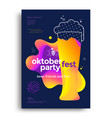 oktoberfest party poster with glass beer vector image