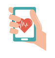online doctor hand with smartphone heartbeat care vector image