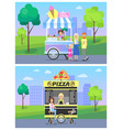 pizza and ice cream stands in modern city park vector image vector image