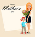 postcard to mothers day woman and her little son vector image vector image