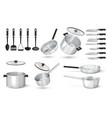 realistic utensil 3d steel cooking pots metal vector image vector image