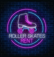 retro roller skates rent glowing neon sign in vector image vector image