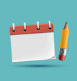 school notebook icon with pencil blank template vector image