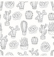 seamless pattern with cacti and succulents vector image