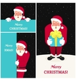 Set of three smiling Santa Claus greeting card vector image vector image
