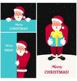 set three smiling santa claus greeting card vector image