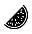 silhouette monochrome with slice watermelon vector image