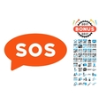 Sos Message Balloon Icon with 2017 Year Bonus vector image