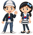 south korean boy and girl vector image vector image