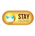 stay home yellow emoji in face mask and vector image vector image