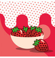 strawberries in bowl harvest fruit tasty dotted vector image