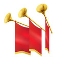 three musical golden trumpet decorates red flags vector image