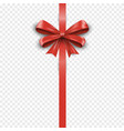 vertical red silk gift bow with ribbon isolated on vector image vector image