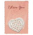 vintage manuscript romantic card with heart vector image