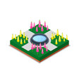water pool and flowers in park isometric 3d icon vector image vector image