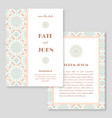 wedding invitation greeting card with mandala vector image
