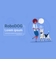 woman playing with robotic dog cute domestic vector image vector image