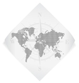 World map over white paper sticker isolated on vector image