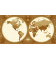World map with retro-styled hemispheres vector image