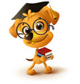 yellow dog teacher holds stack of books vector image vector image