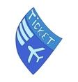 Blue plane ticket icon cartoon style vector image