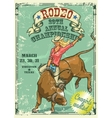 Rodeo Cowgirl riding a bull Retro style Poster vector image