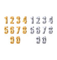 3d numbers gold silver digits stylish beauty vector image vector image