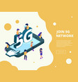 5g isometric smartphone broadcasting characters vector image vector image