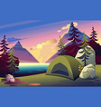 a camping tent in woods flat vector image vector image