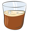 a glass partially filled with whiskey and few ice vector image vector image