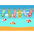 Beach sandals hanged on a rope vector image vector image