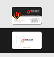 black business card with letter m and motel icon vector image vector image