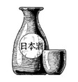 bottles of japanese alcohol vector image vector image