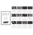 Calendar 2017 Year A4 Cards With Hand Drawn vector image vector image