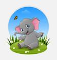 cartoon baby elephant posing on the grass vector image vector image