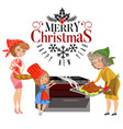 cartoon happy family with sign merry christmas vector image vector image