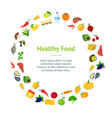 cartoon healthy food signs color banner card vector image vector image